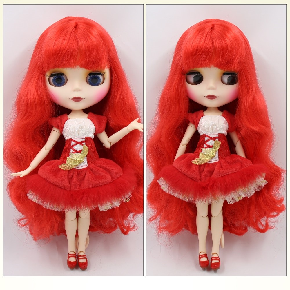 TBL Neo Blythe Doll Red Hair Jointed Body Matte Face White Skin Red Hair Blythe Neo Blythe Dolls (Nude)