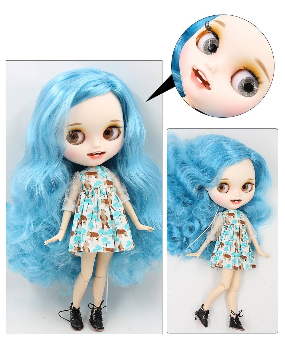 TBL Neo Blythe Doll Turquoise Hair Jointed Body Turquoise Hair Blythe