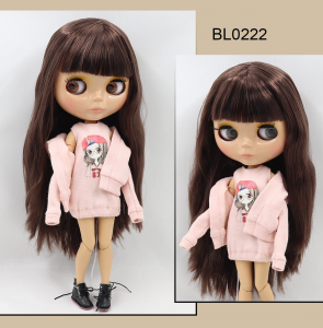 Neo Blythe Doll with Brown Hair, Tan Skin, Shiny Face & Jointed Body 1