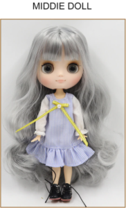 Middie Blythe Doll Grey Hair Jointed Body 1