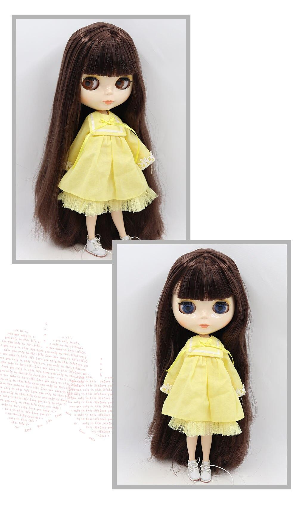 Neo Blythe Doll with Brown Hair, White Skin, Shiny Face & Jointed Body 1