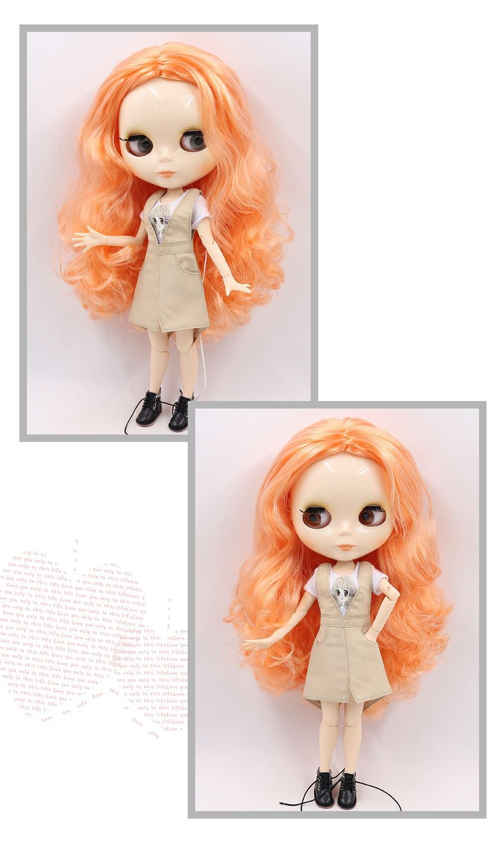 Neo Blythe Doll with Orange Hair, White Skin, Shiny Face & Jointed Body 1